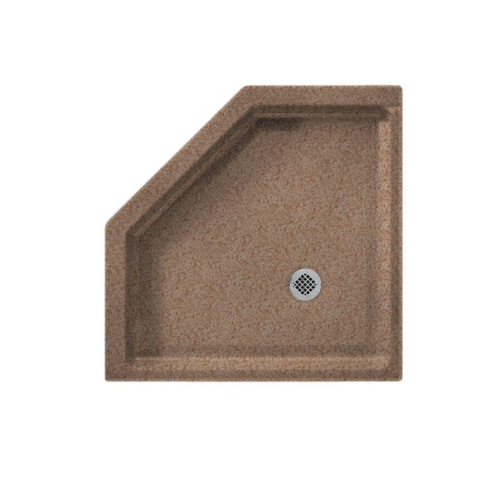 Swanstone Neo Angle 38 in. x 38 in. Single Threshold Shower Floor in Ironweed-DISCONTINUED