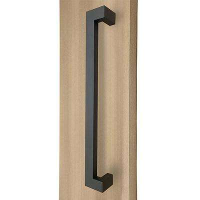18 in. Rectangular Offset 1.5 in. x 1 in. Matte Black Stainless Steel Door Pull Handleset for Easy Installation