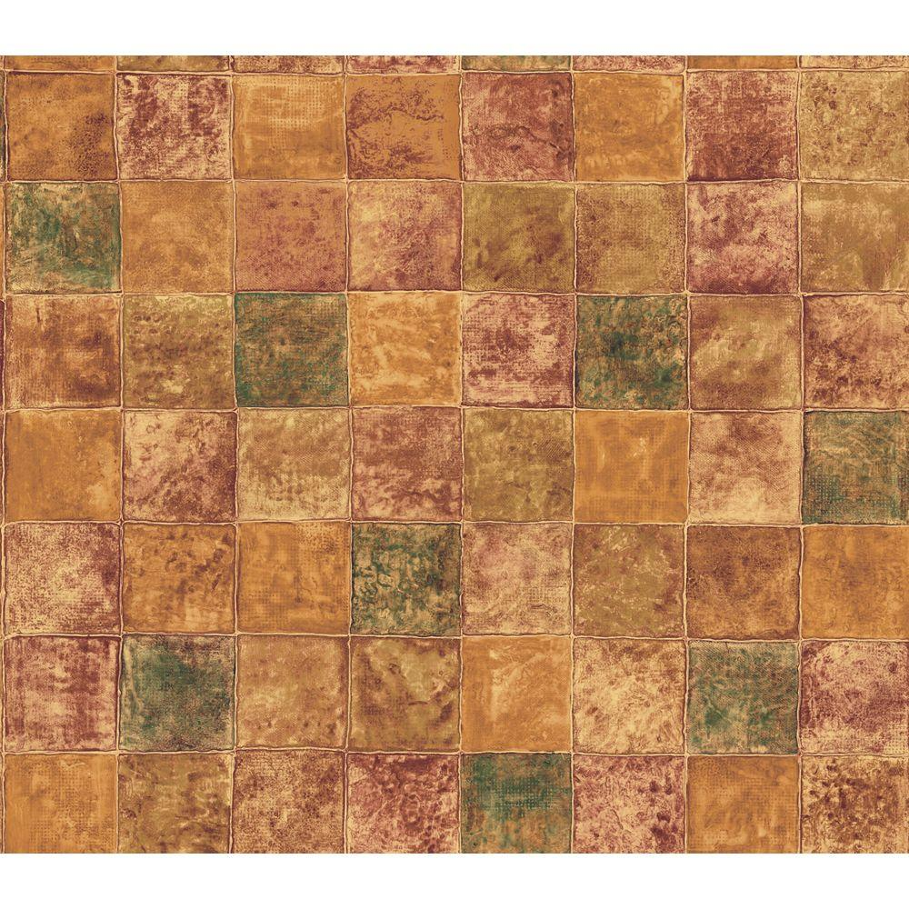 The Wallpaper Company 56 sq. ft. Orange Glass Tile Wallpaper-DISCONTINUED