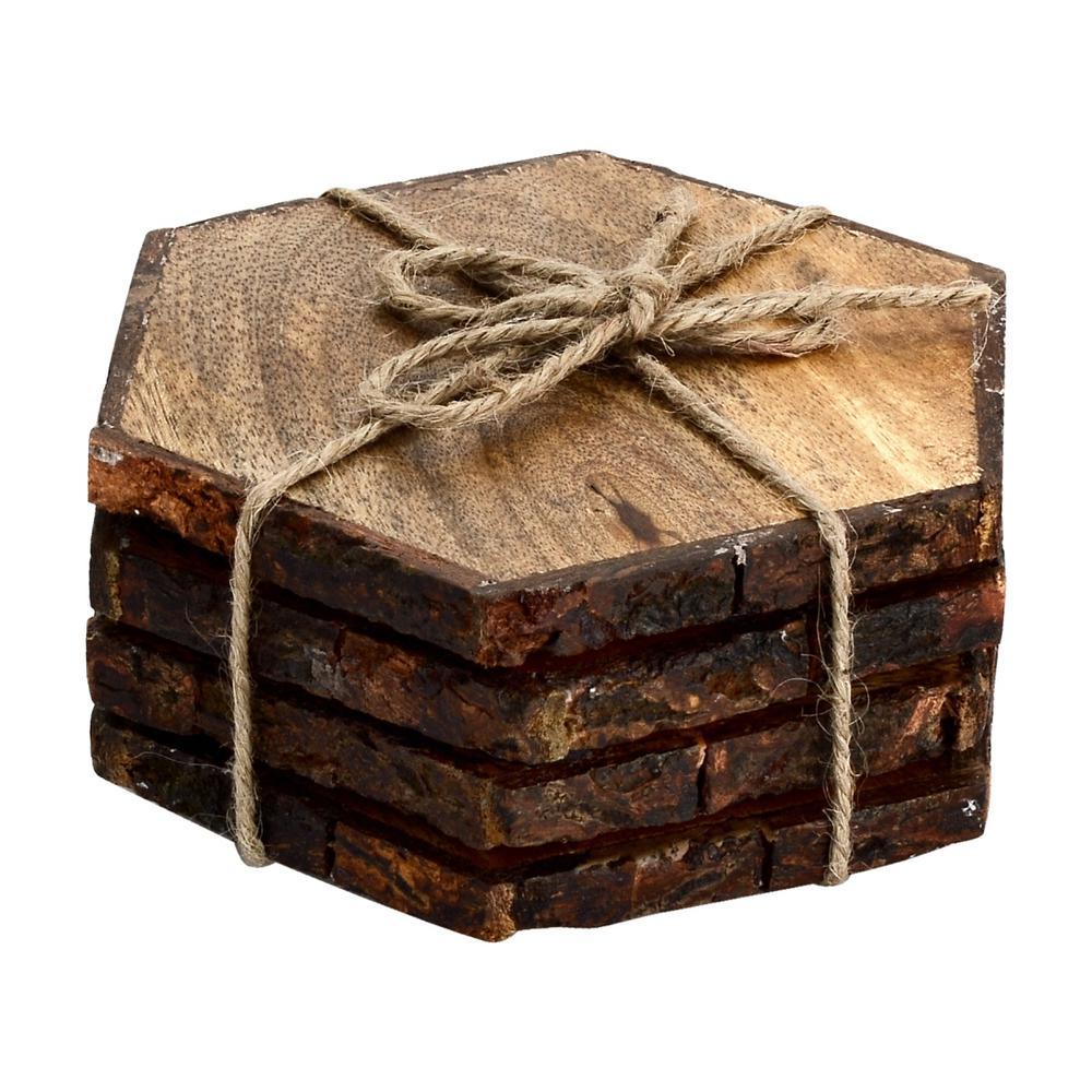 Log Cut 4-Pieces Hex Coaster Set