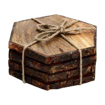 Log Cut 4-Pieces Hex Coaster Set