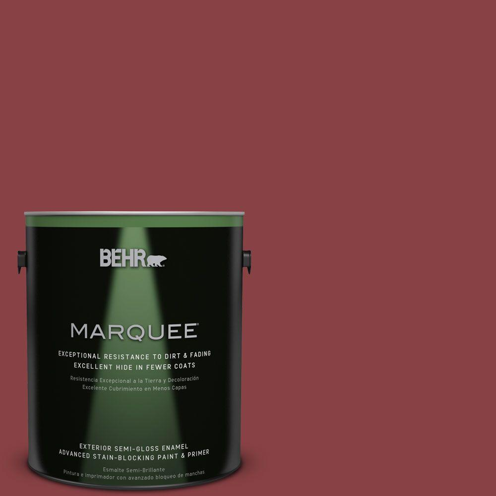 BEHR MARQUEE 1-gal. #BIC-34 Winning Red Semi-Gloss Enamel Exterior Paint
