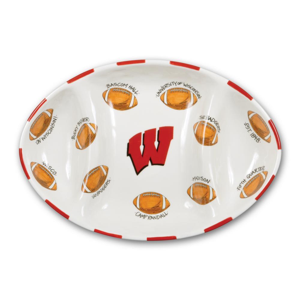 Wisconsin Ceramic Football Tailgating Platter