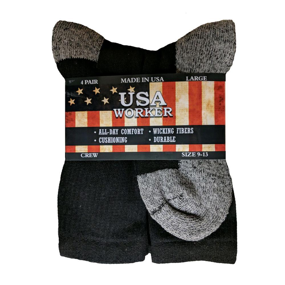 a7e481da13f USA WORKER Half Cushion Men s Crew in Black (4-Pair)-BB201-B - The ...