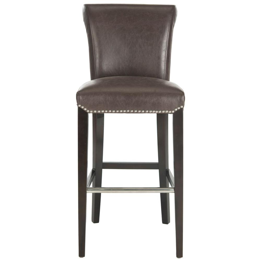 Seth 29.3 in. Antique Brown Cushioned Bar Stool