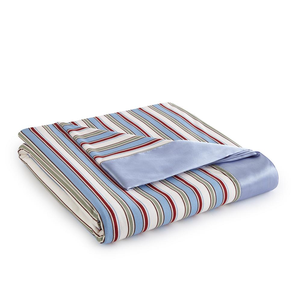 Full Queen Awning Stripe Year Round Polyester Sheet Blanket