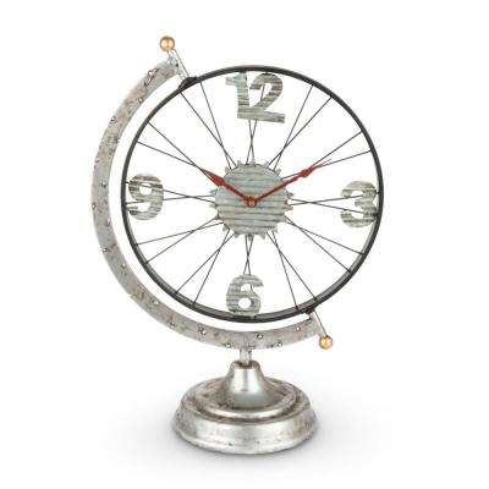 Silver Metal Globe Clock