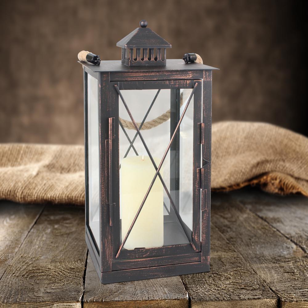 Rustic Bronze Metal Candle Lantern