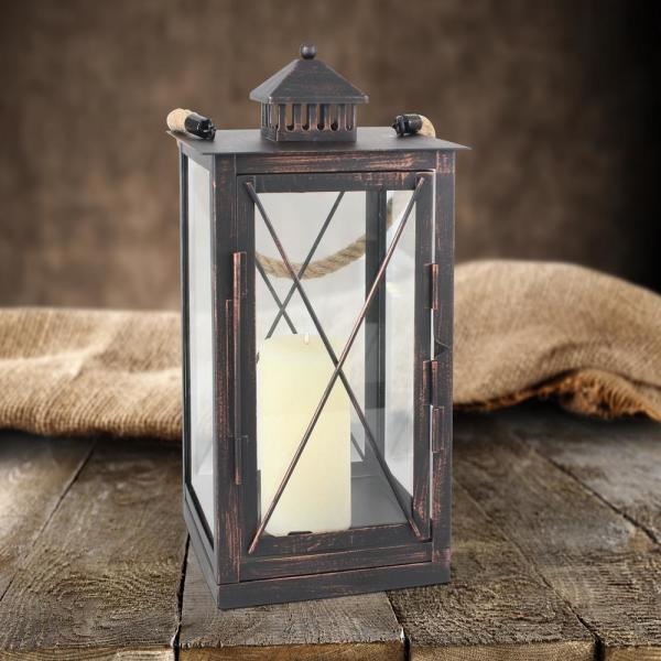 Stonebriar Collection Rustic Bronze Metal Candle Lantern