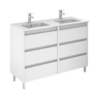 Sansa 48 in. W x 18 in. D Vanity in White with Ceramic Vanity Top in White