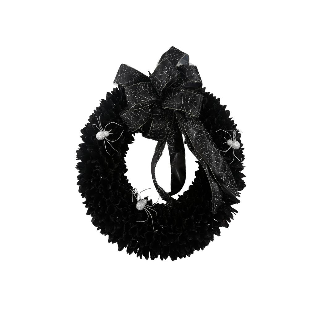 Home Accents Holiday 22 in. Black Wood Curl Wreath with Black Bow
