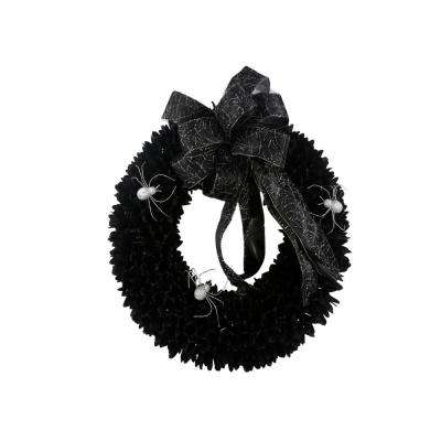 22 in. Black Wood Curl Wreath with Black Bow