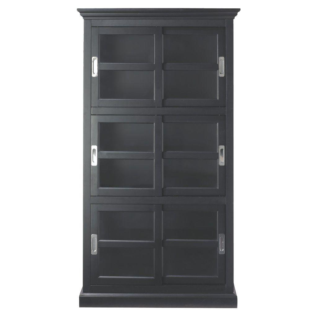 Marvelous Home Decorators Collection Lexington Black Glass Door Bookcase