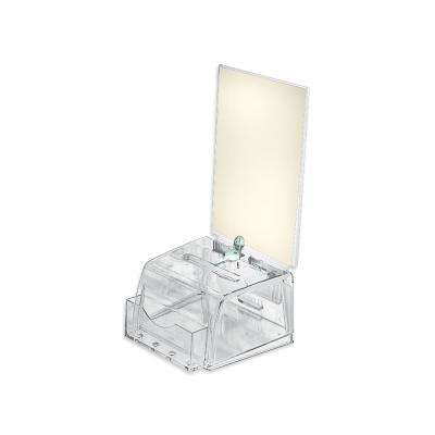Small Molded Lottery Box with Lock and Key, Clear