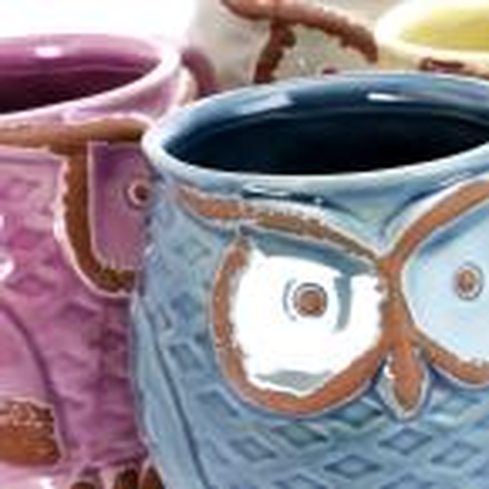 Gibson Nocturnal Gaze 18 oz. Assorted colors owl Mugs (Set of 4)