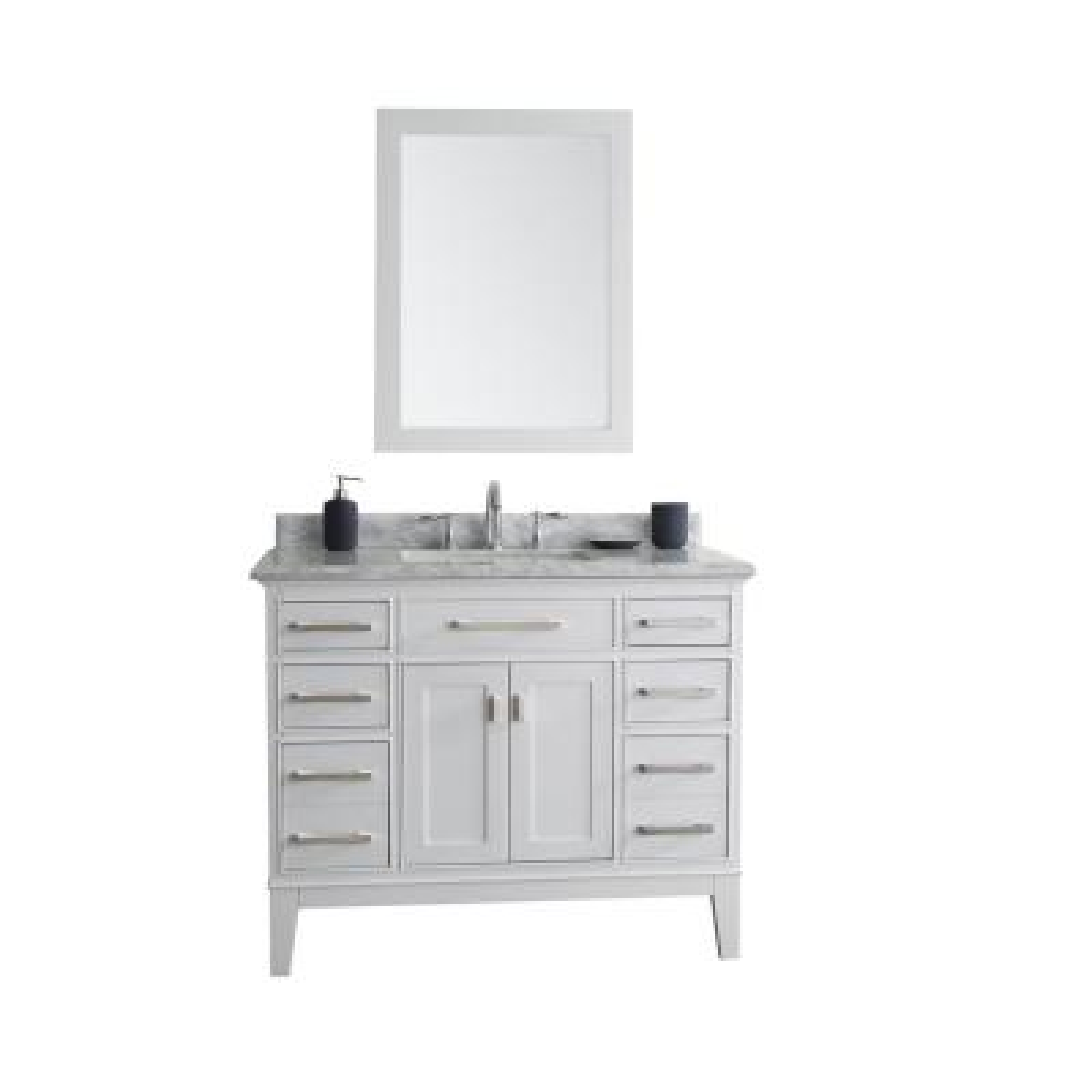Danny 42 in. Single Bath Vanity in White with Marble Vanity Top in Carrara White with White Basin