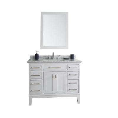 Danny 42 in. Single Bath Vanity in White with Marble Vanity Top in Carrara White with White Basin