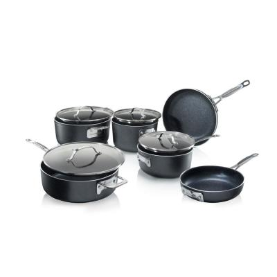 Premium Titanium Coating Non-Stick Space Saving StackMaster 10-Piece Cookware Set with Tempered Glass Lid