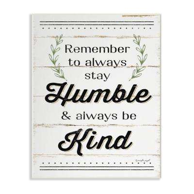 """10 in. x 15 in. """"Humble And Kind Rosemary Sprig Typography"""" by Jennifer Pugh Printed Wood Wall Art"""