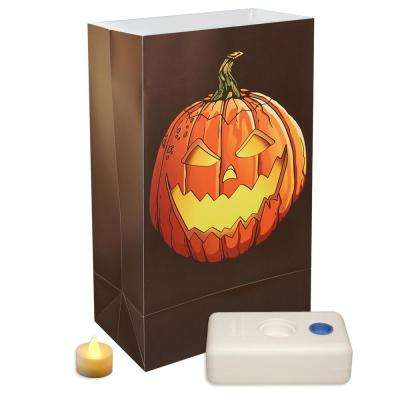 11 in. LED Battery Operated Luminaria Kit - Jack-O'-Lantern (Set of 12)