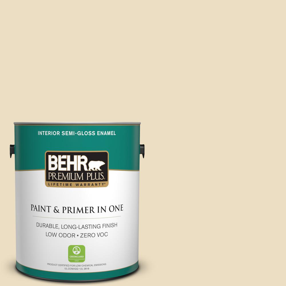 BEHR Premium Plus 1-gal. #PPL-76 Ecru Zero VOC Semi-Gloss Enamel Interior Paint