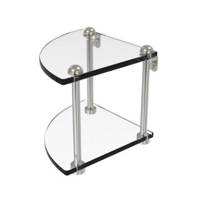 8 in. 2-Tier Corner Glass Shelf in Satin Nickel