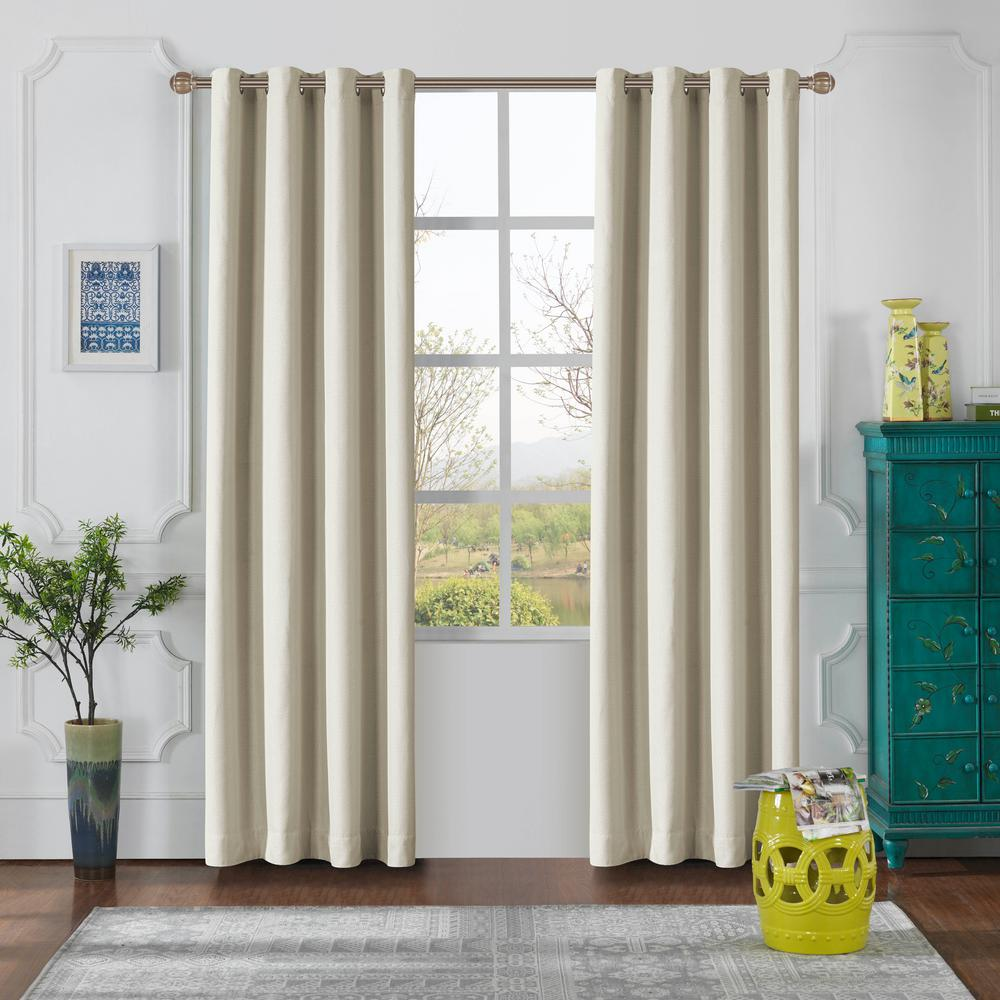 Lyndale Decor Odyssey 95 in. L x 52 in. W Blackout Polyester Curtain in Turtle Dove