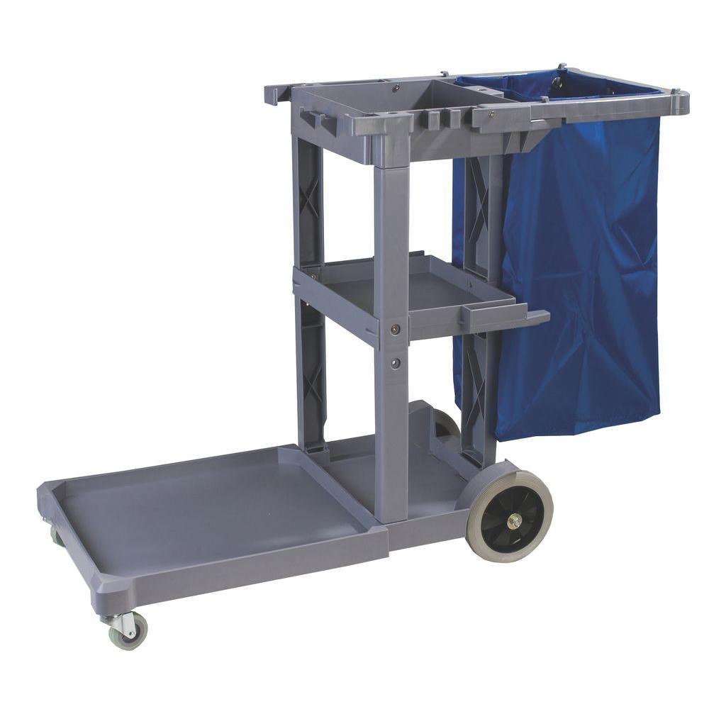 300 lb. Capacity Long Platform Janitors Cart with 5th Wheel