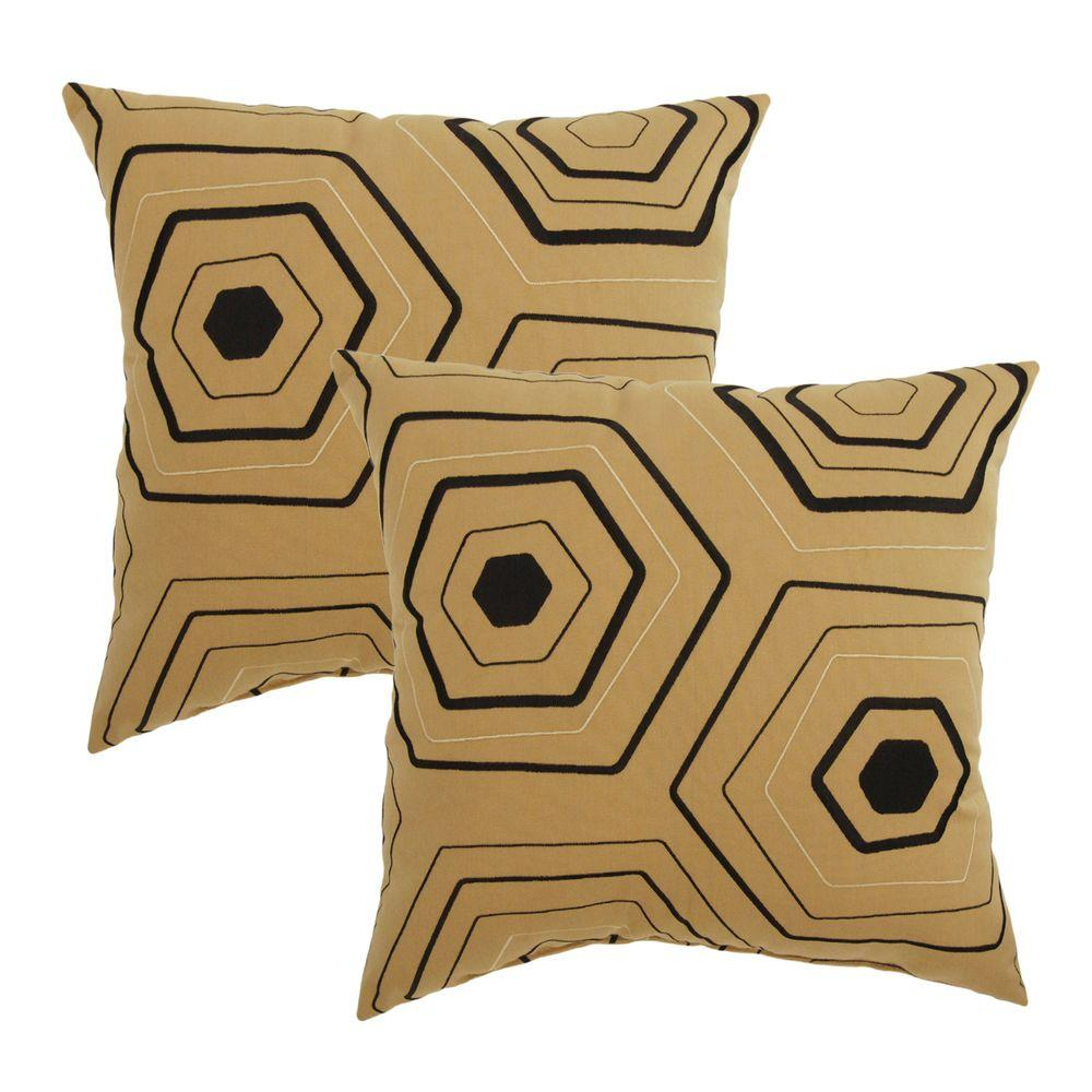 Wheat Embroidery Outdoor Throw Pillow (2-Pack)