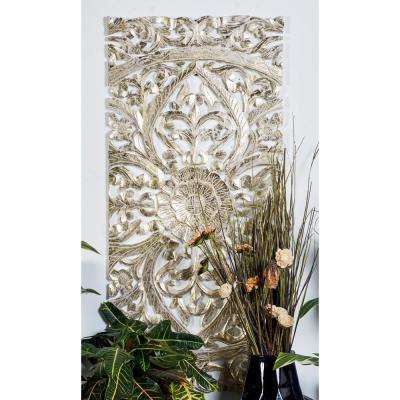 22 in. x 48 in. Extra Large Hand-Carved Metallic Gold Pine Wood Wall Panels w/ Floral and Acanthus Designs (Set of 3)