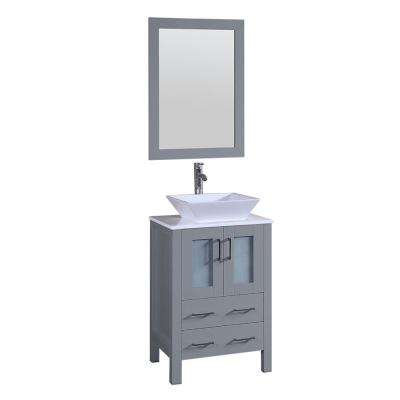 Bosconi 24 in. W Single Bath Vanity in Gray with Vanity Top in White with White Basin and Mirror