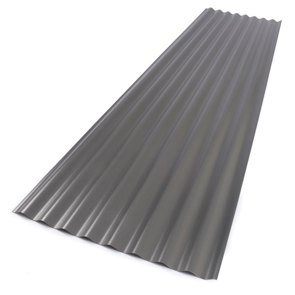 Suntop 26 in. x 8 ft. Foamed Polycarbonate Corrugated Roof Panel in Castle Grey