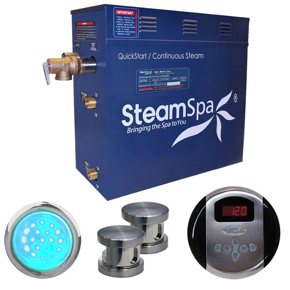 SteamSpa Indulgence 12kW Steam Bath Generator Package in Brushed Nickel by SteamSpa