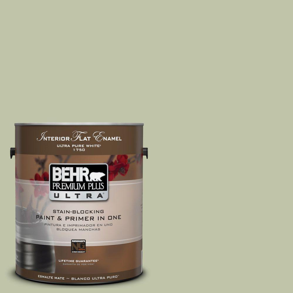 BEHR Premium Plus Ultra 1-Gal. #UL210-13 Minted Lemon Interior Flat Enamel Paint