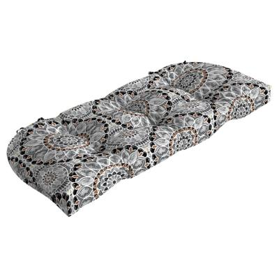 Contoured Outdoor Wicker Settee Cushion in Large Medallion