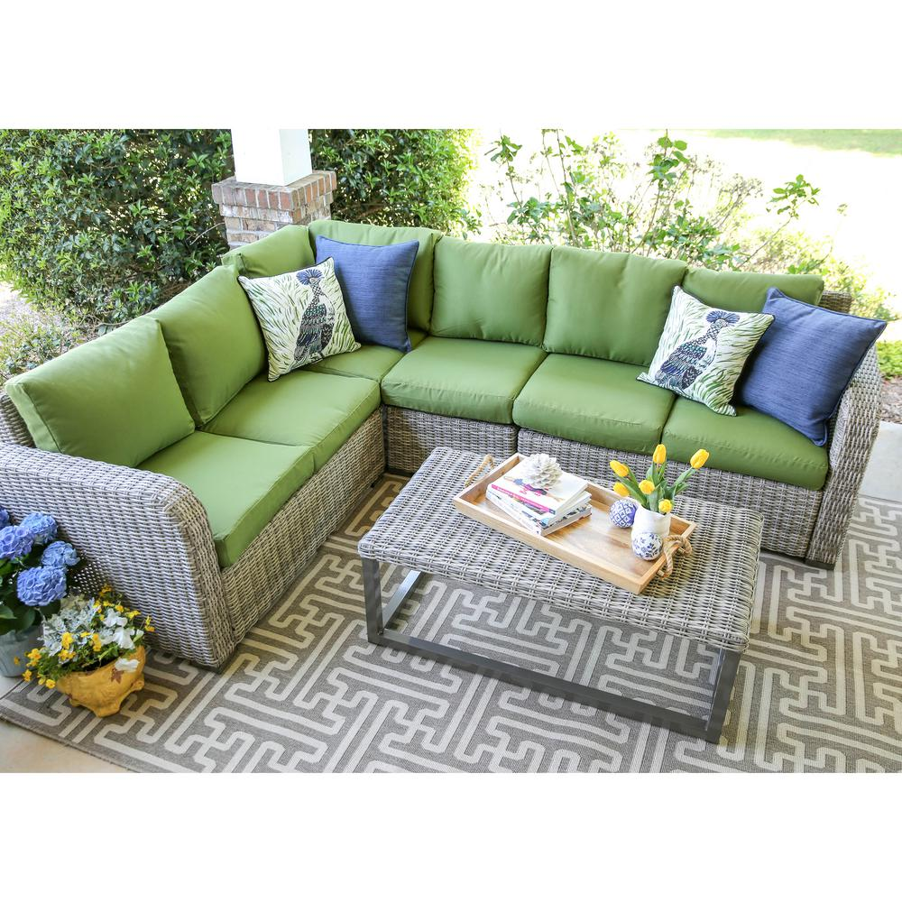 Leisure Made Forsyth 5 Piece Wicker Outdoor Sectional Set With Green Cushions
