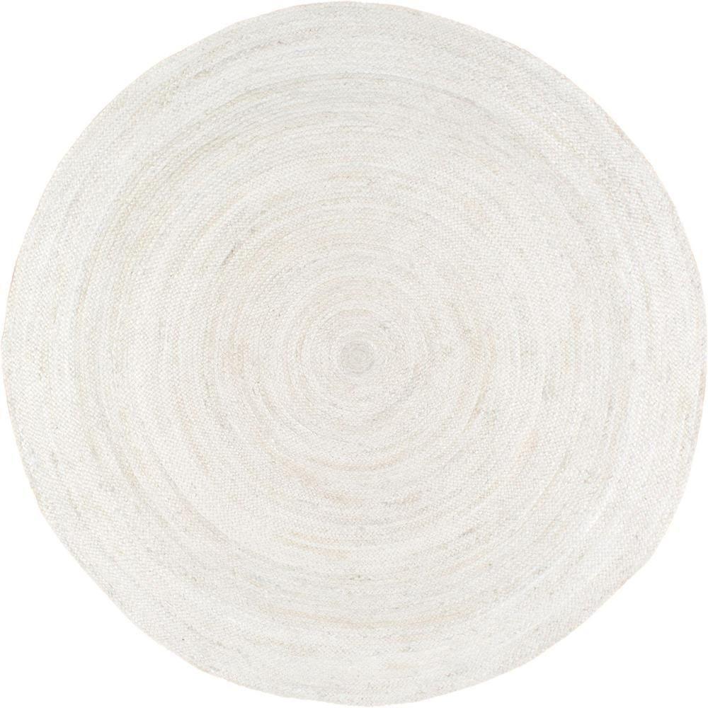 Rigo Jute White 8 ft. x 8 ft. Round Area Rug