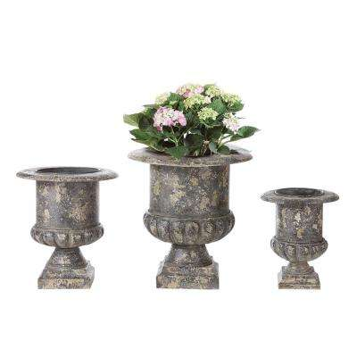 15.5 in., 19 in. and 22.5 in. H Distressed Black Metal Planters