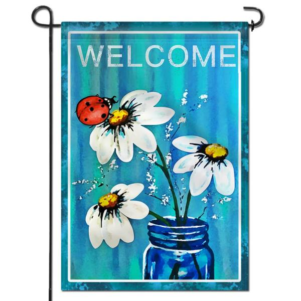 Anley 18 In X 12 5 In Double Sided Premium Spring Summer Daisy Jar And Ladybug Welcome Decorative Garden Flags Double Stitch A Flag Garden Daisy The Home Depot