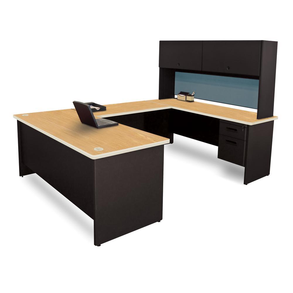 8 ft. 6 in. W x 6 ft. D Black and Oak Slate U-Shaped Desk with Flipper Do or Unit