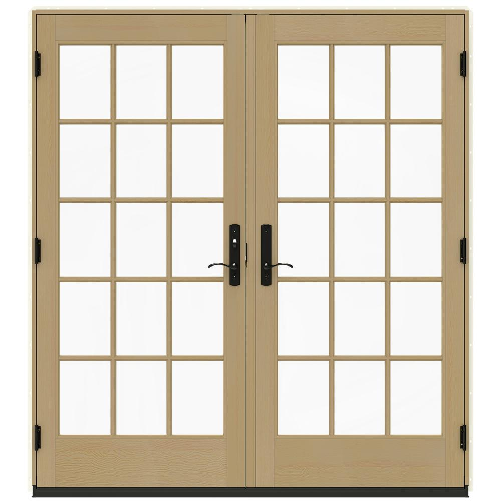 Jeld Wen 72 In X 80 In W 4500 Vanilla Clad Wood Right Hand 15 Lite French Patio Door W