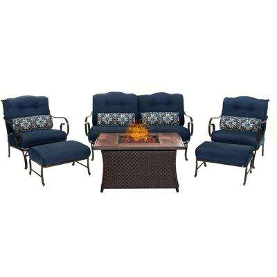 Oceana 6-Piece Patio Seating Set with Wood Grain-Top Fire Pit and Navy Blue Cushions
