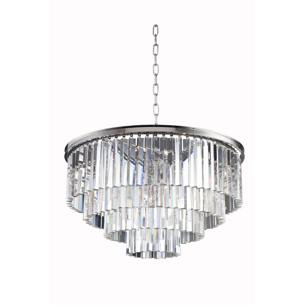 Elegant Lighting Sydney 17-Light Polished Nickel Chandelier with ...