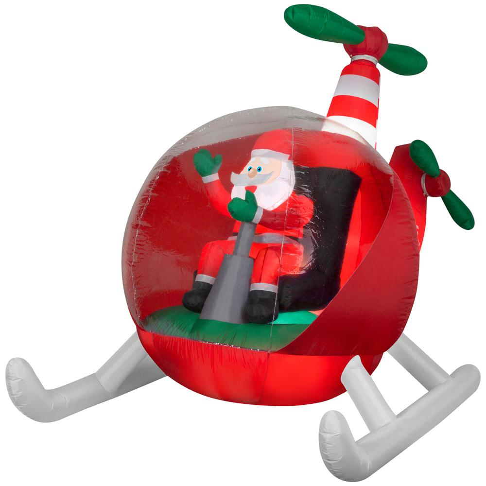 8.50 ft. W Pre-Lit inflatable Animated Vintage Helicopter Santa Airblown Scene