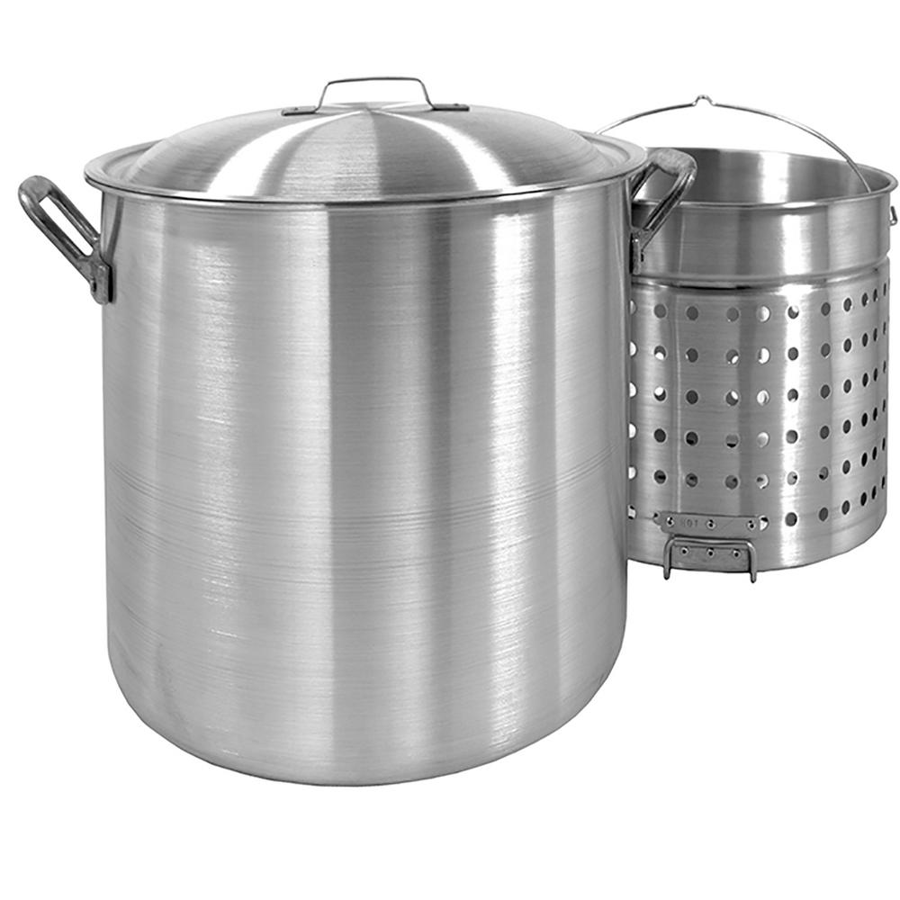 Bayou Classic 80 qt. Aluminum Stockpot with Perforated Basket and Lid
