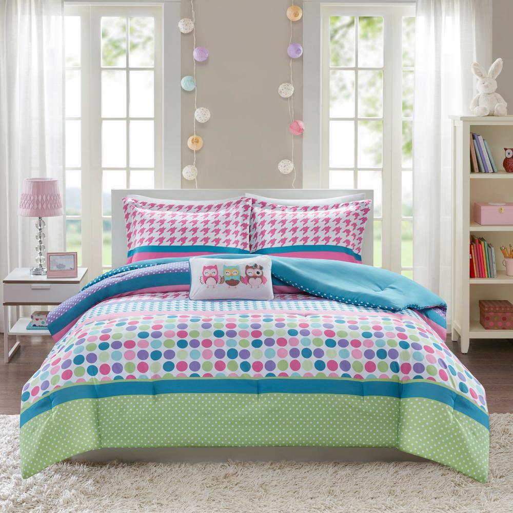 Jenny 4-Piece Aqua Full/Queen Comforter Set