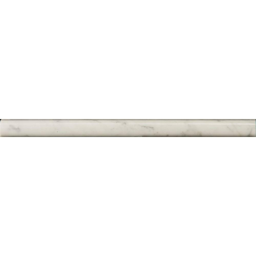 Emser Bianco Gioia Mini Cigaro 1 in. x 12 in. Marble Molding Floor and Wall Tile