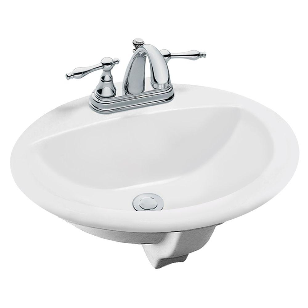 Glacier Bay Aragon Self-Rimming Drop-In Bathroom Sink in White