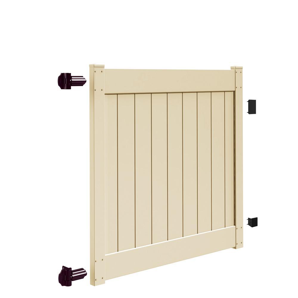 Linden 5 ft. W x 5 ft. H Sand Vinyl Un-Assembled Fence Gate
