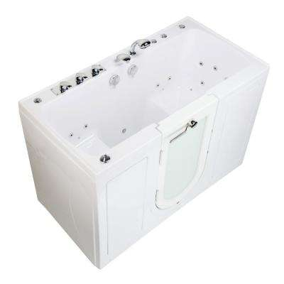 Tub4Two 60 in. Walk-In Whirlpool and MicroBubble Bathtub in White, Left Outward Door, Fast Fill Faucet, 2 in. Dual Drain